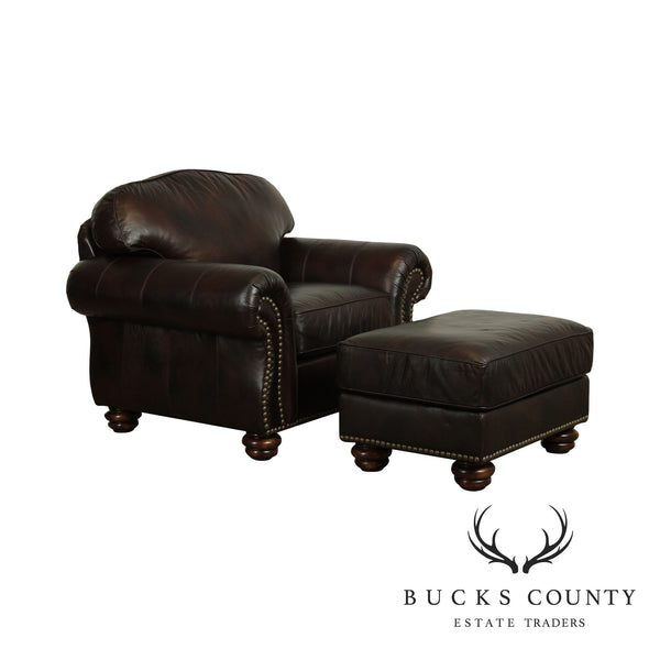 Flexsteel Brown Leather Bexley Traditional Living Room Chair with Ottoman
