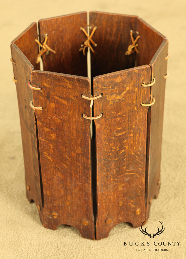 Lakeside Antique Arts & Crafts Oak Waste Basket