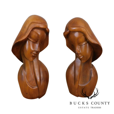 Vintage Art Deco Style Pair Carved Wood Busts or Sculptures of Women