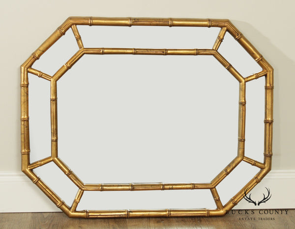 Hollywood Regency Gold Faux Bamboo Frame Wall Mirror