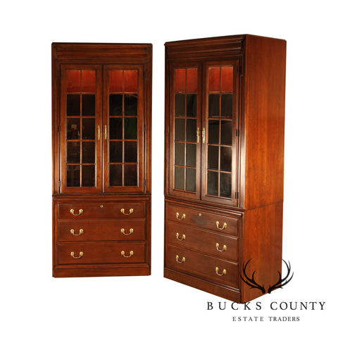 Harden Brandywine Cherry Pair Bookcases with File Cabinets Bases