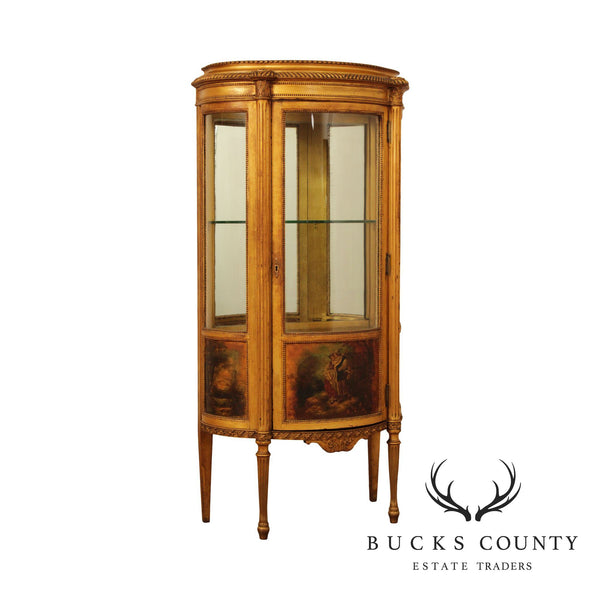 French Louis XV Gold Gilt Vernis Martin Bow Glass Vitrine Cabinet, Geo. C. Flint Co.