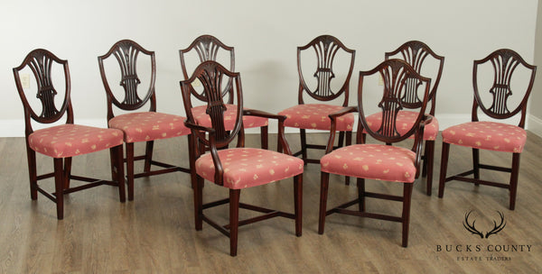 Hepplewhite Style Vintage Custom Quality Set 8 Mahogany Dining Chairs