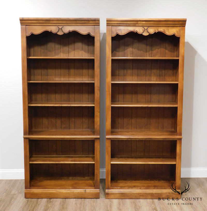Ethan Allen Country French Pair Open Bookcases