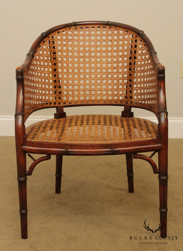Faux Bamboo Vintage Carved Barrel Back Armchair