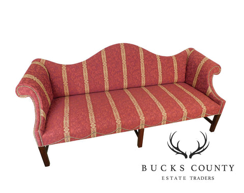 Chippendale Style Fine Custom Quality Mahogany Camel Back Sofa