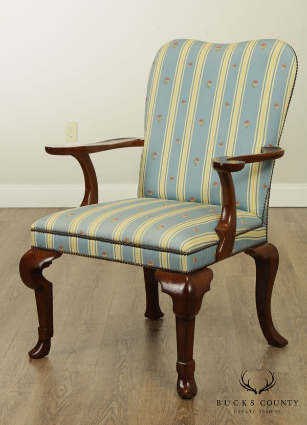 Baker Queen Anne Style Mahogany Armchair