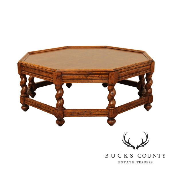 Jacobean Style Burlwood & Oak Barley Twist Octagonal Coffee Table