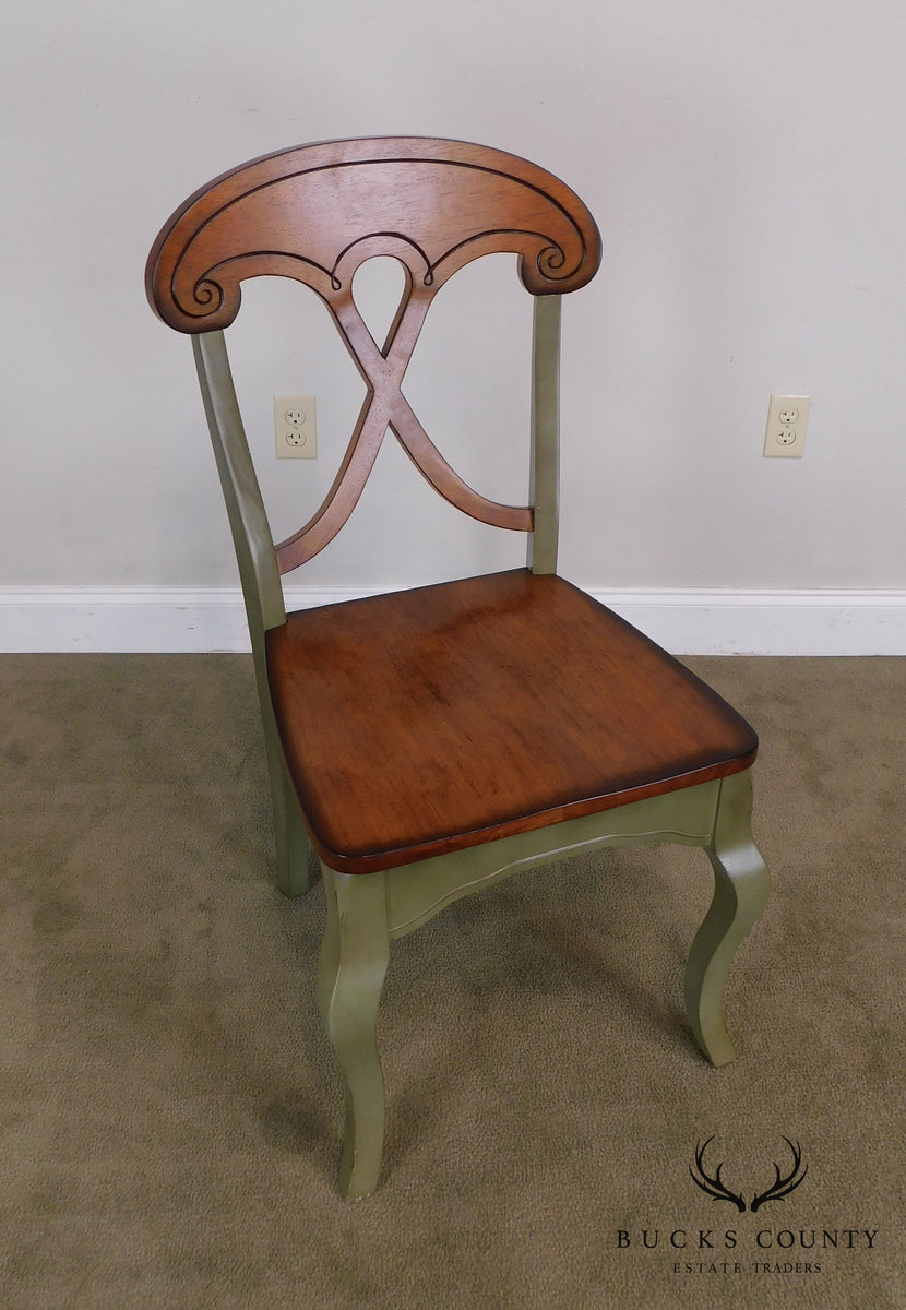 French Country Style Green Painted Solid Wood Set 4 Dining