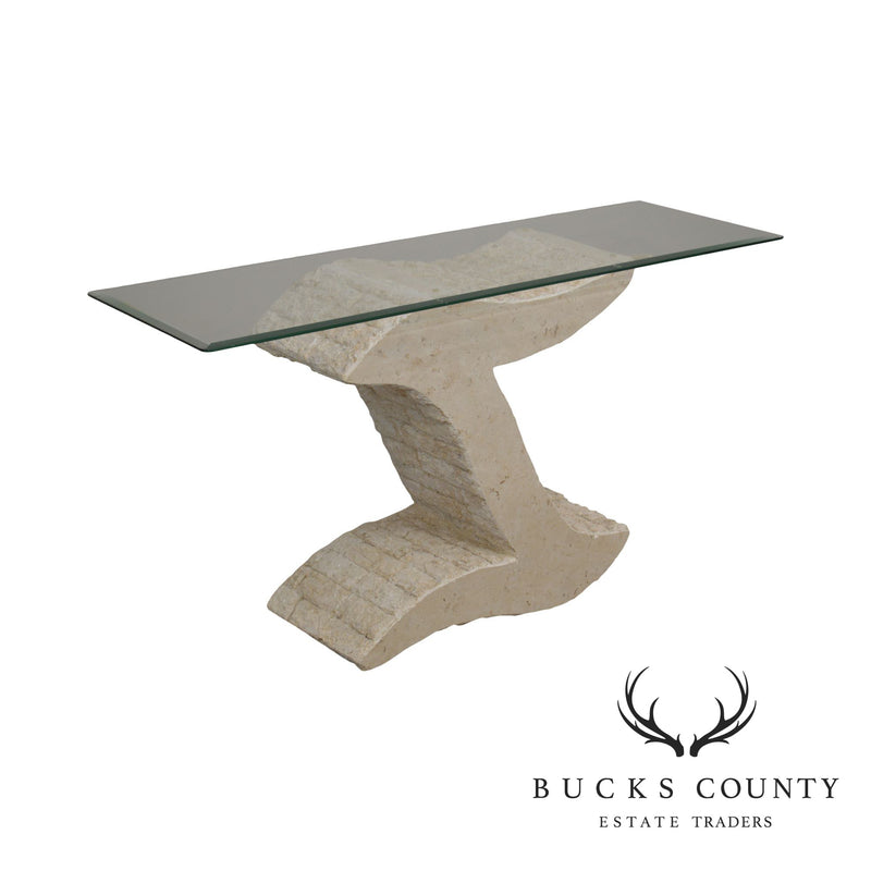 Postmodern Tessellated Marble Glass Top Sofa Table Console