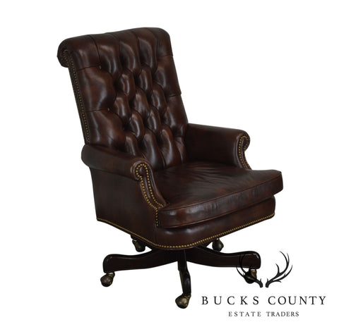 Hancock & Moore Brown Tufted Leather Executive Office Desk Chair