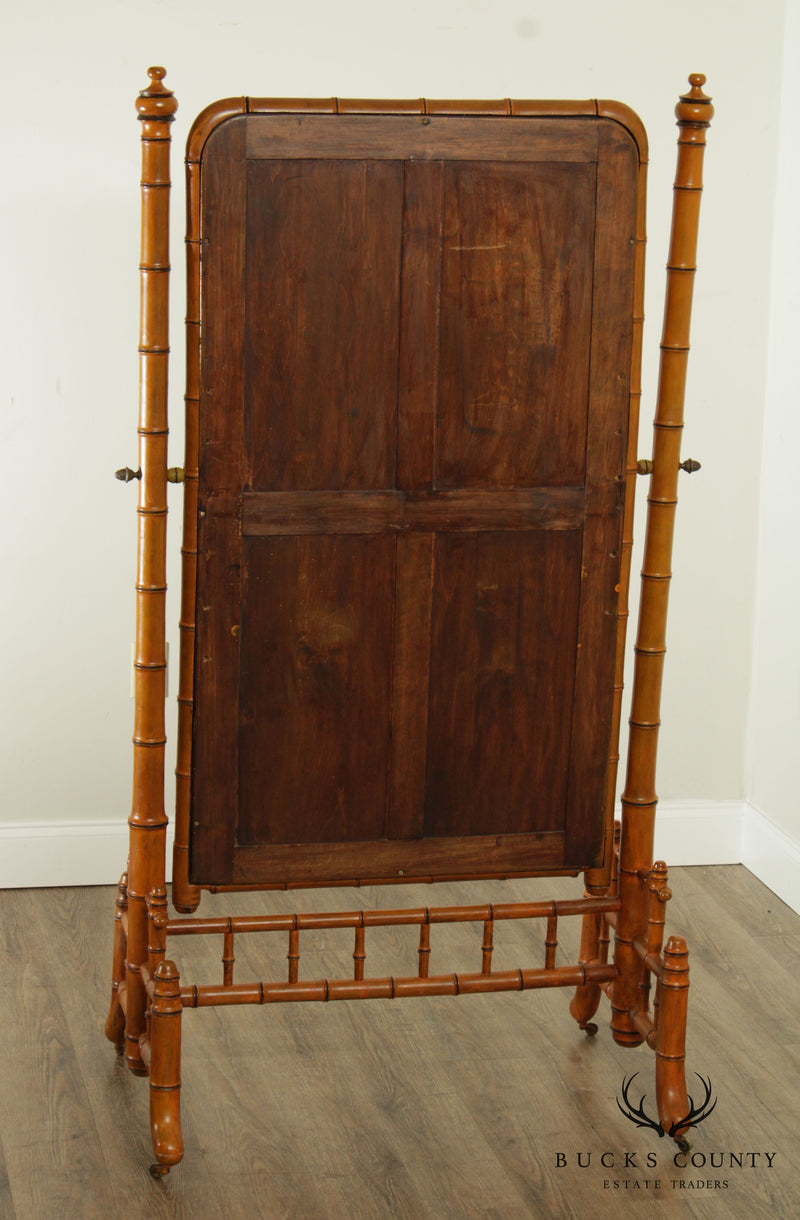 Antique 19th Century French Faux Bamboo Cheval Mirror