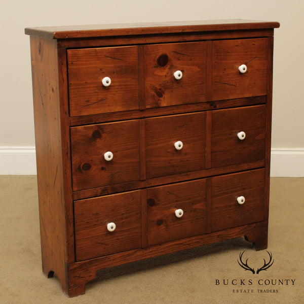 Vintage Country Pine Apothecary Style Chest of Drawers