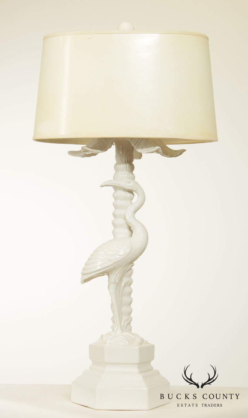 Hollywood Regency White Ceramic Table Lamp, Palm Tree and Standing Crane