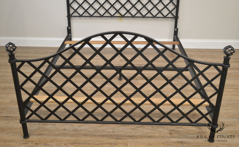 Quality Wrought Iron Queen Size Lattice Bed