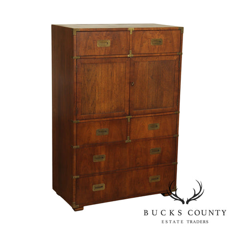 Henredon Vintage Walnut Campaign Style Gentlemans Tall Chest