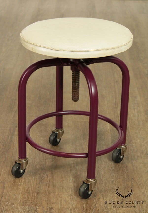 1950's Mid Century Vintage Rolling, Adjustable Mechanics Shop Stool