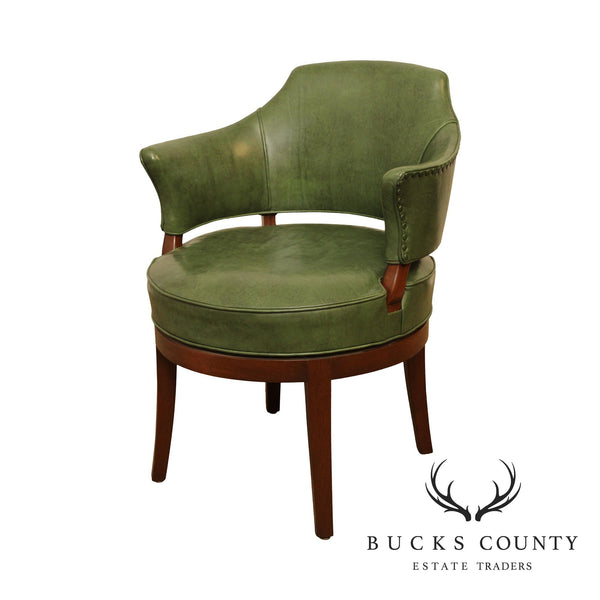 Lawsonia Vintage Regency Style Green Leather, Mahogany Swivel Armchair