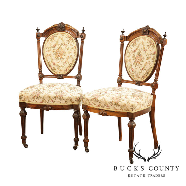 Victorian Renaissance Antique Pair Rosewood Side Chairs