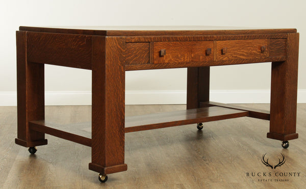 Antique Mission Oak Large Library Table Desk