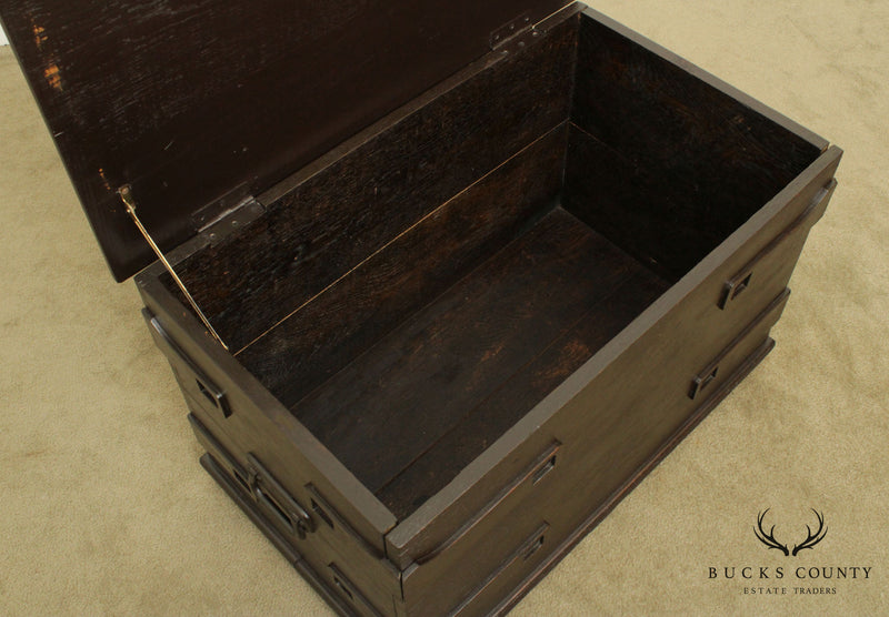 Antique Arts and Crafts Oak Lidded Storage Chest
