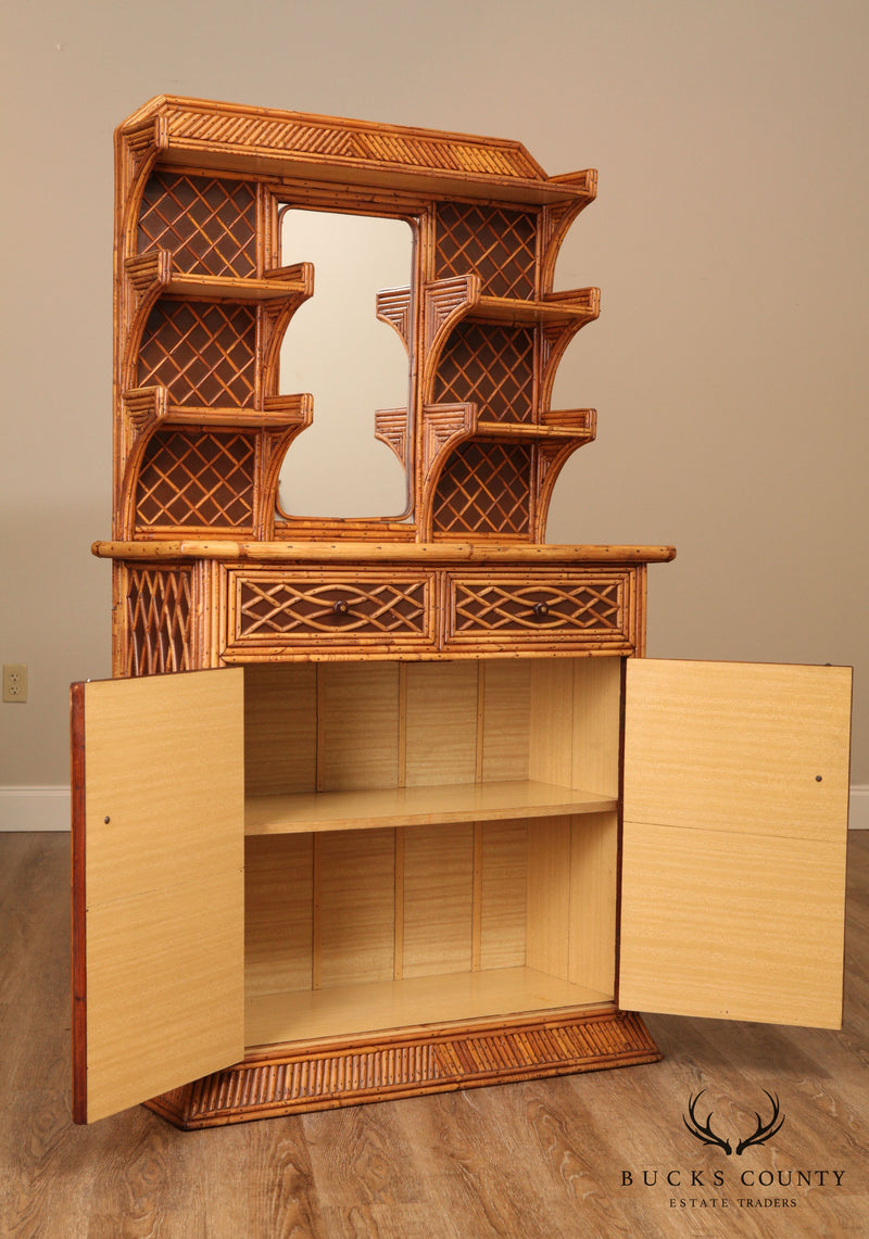 Vintage Rattan Mirror Back Cabinet with Shelves