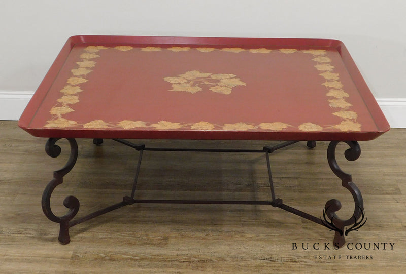 Large Square Red & Gold Tray Coffee Table on Iron Scroll Legs and Frame