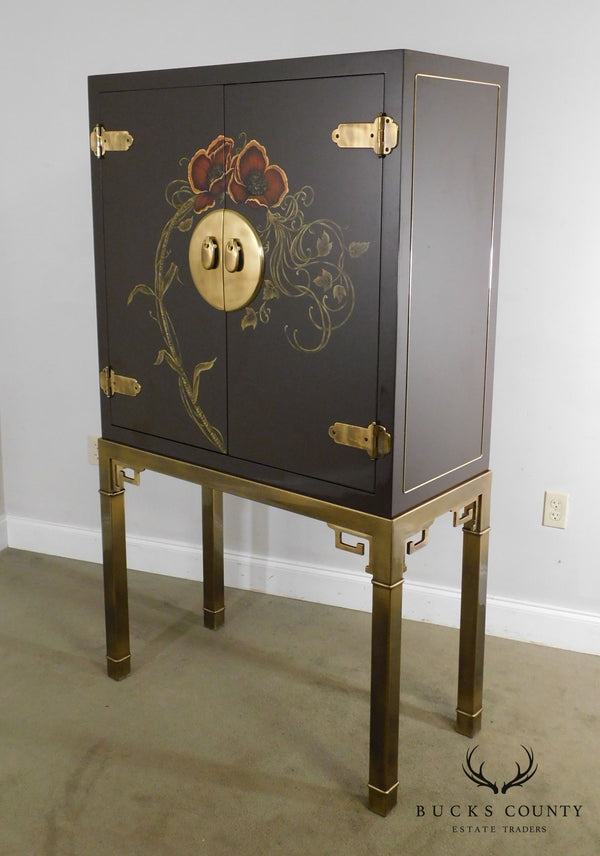 Mastercraft Asian Inspired Lacquered Bar Cabinet on Brass Stand