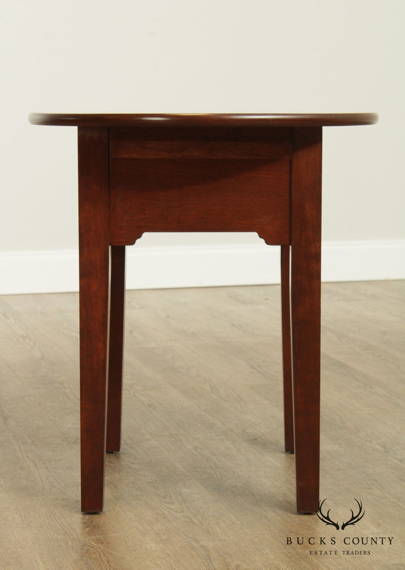 Custom Crafted Solid Cherry Oval One Drawer Side Table