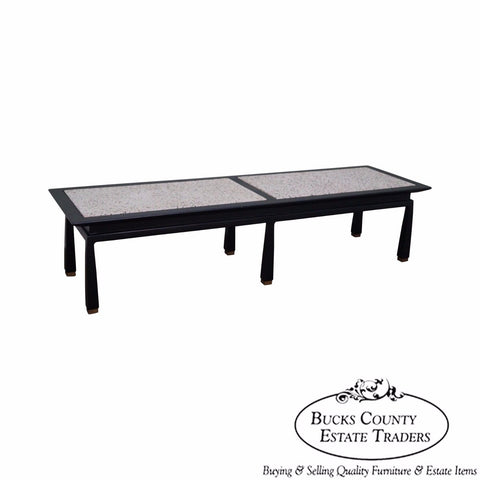 James Mont Mid Century Modern Ebonized Marble Top Coffee Table