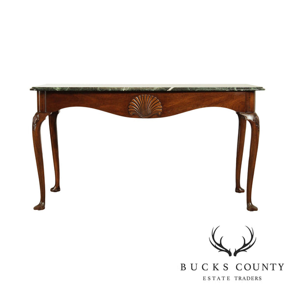 Kittinger Colonial Williamsburg Collection Mahogany Green Marble Top Console Table