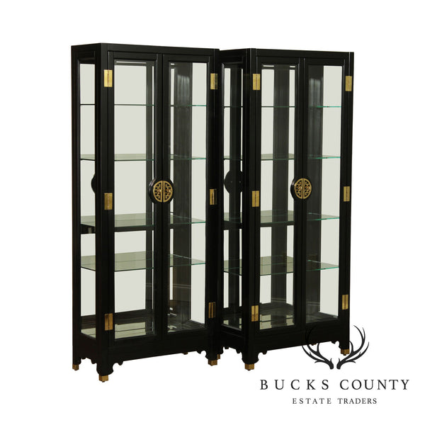 American of Martinsville Black Lacquer Vintage Asian Inspired Pair Display Curio Cabinets