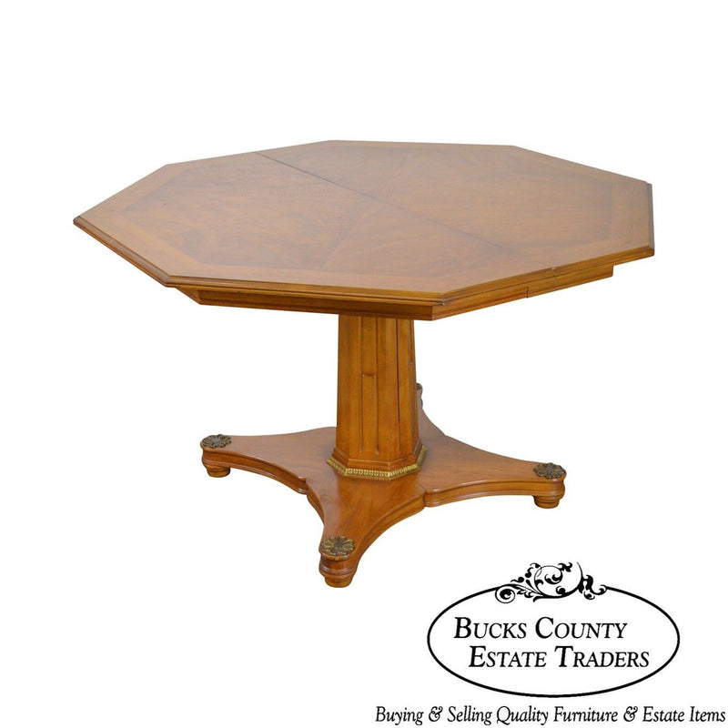 Henredon Regency Style Vintage Walnut Octagon Expandable Dining Table
