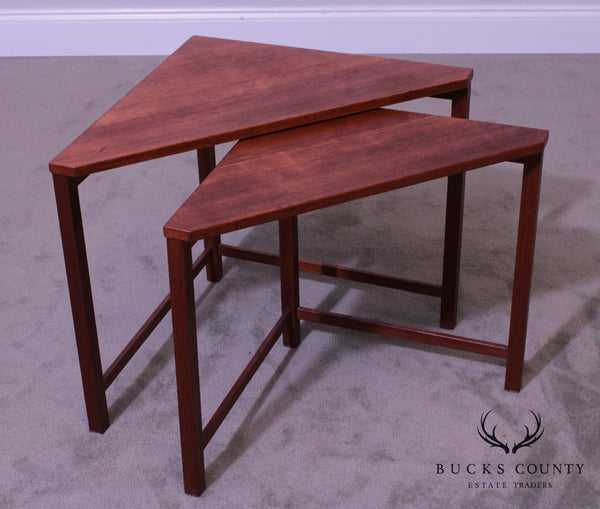 Danish Modern Vintage Teak Triangle Corner Nesting Tables