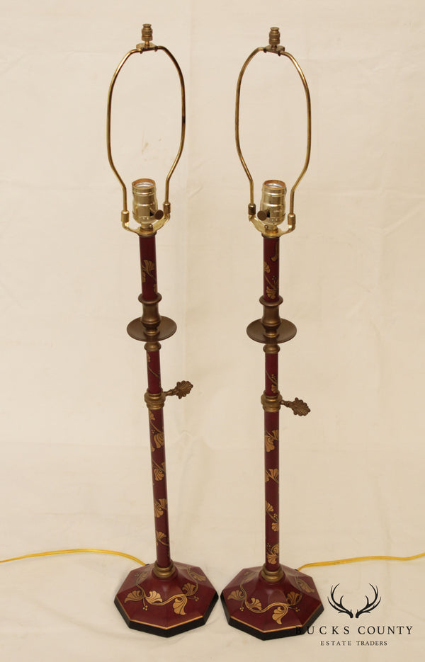Tole Decorated Pair Candlestick Table Lamps