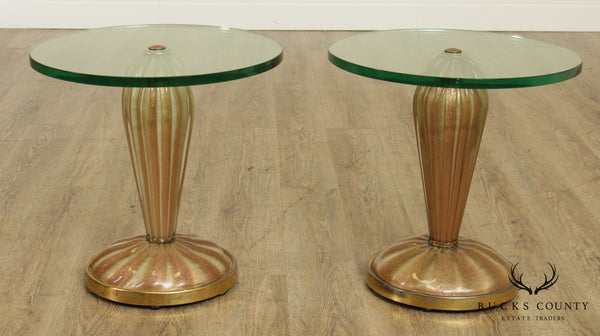 Exceptional 1950's Italian Metallic Art Glass Pair Pedestals, Side Tables