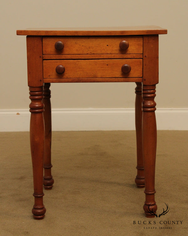 Antique 19th Century Country Sheraton Birch 2 Drawer Stand, Side Table