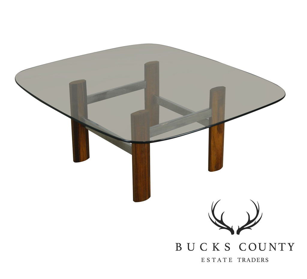 d2dfb10e81fd2 Italian Chrome   Rosewood Glass Top Mid Century Modern Coffee Table ...