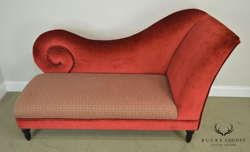 Custom Upholstered Regency Style Recamier Chaise Lounge