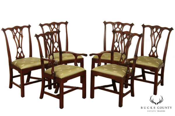 Chippendale Style Custom Mahogany Set 6 Dining Chairs