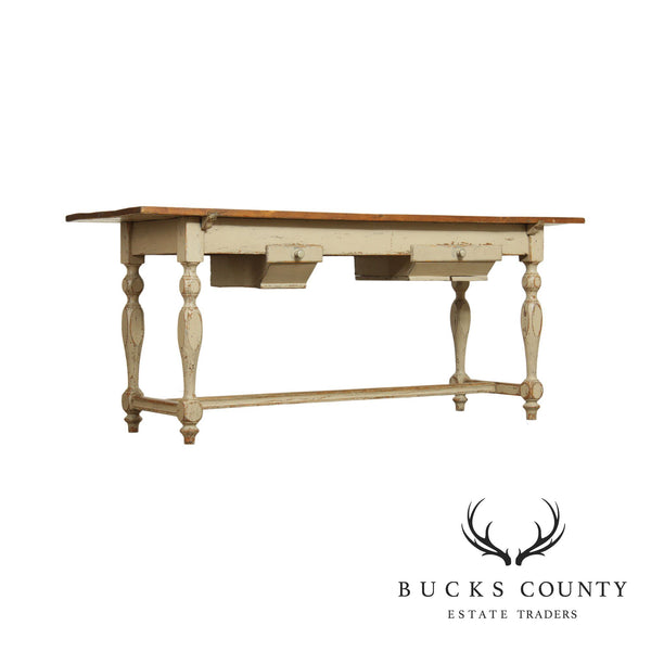 French Country Farmhouse Antique 19th Century Kitchen Island Sideboard Table