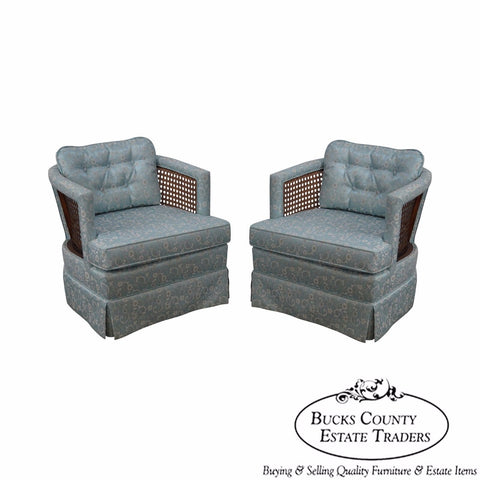 Custom Pair of Barrel Back Vintage Cane Side Lounge Chairs