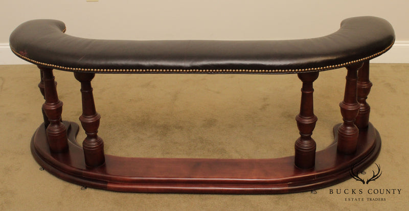 Old Hickory Tannery English Regency Style Brown Leather Fireplace Fender Bench
