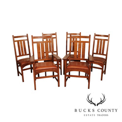 Stickley Mission Collection Oak Set 6 Harvey Ellis Dining Chairs