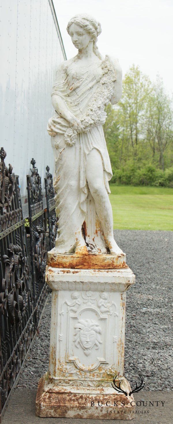 Antique Set Of 2 Cast Iron Goddess Large Garden Statues