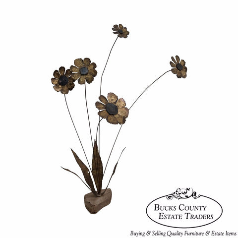 Brutalist Daisy Flower Metal Sculpture by Bovano