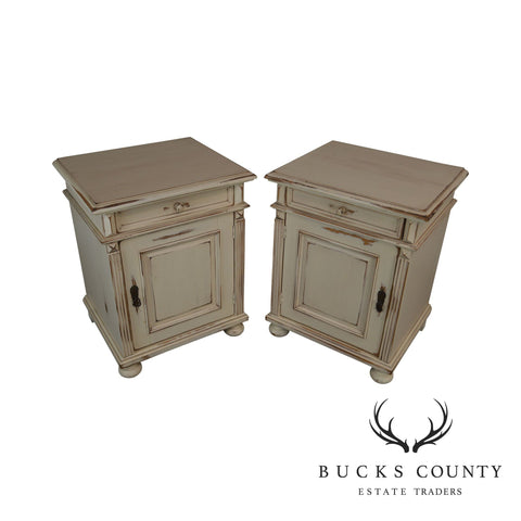 Cottage Pine Custom Quality Pair Distressed Cream Painted Pair Nightstands