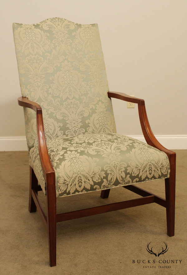 Hepplewhite Style Custom Quality Mahogany Martha Washington Lolling Armchairs
