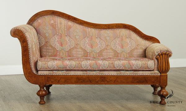French Art Deco Style Quality Burl Wood Loveseat