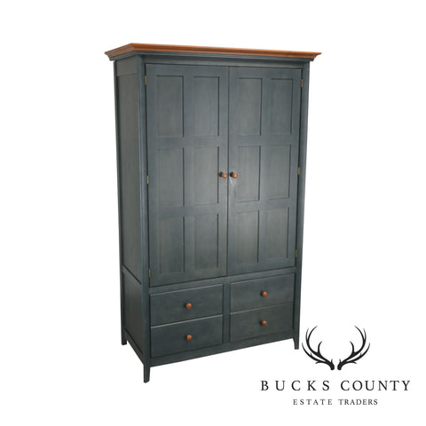 Blue Shaker Style Armoire Linen Press Tall Cabinet by Nadeau